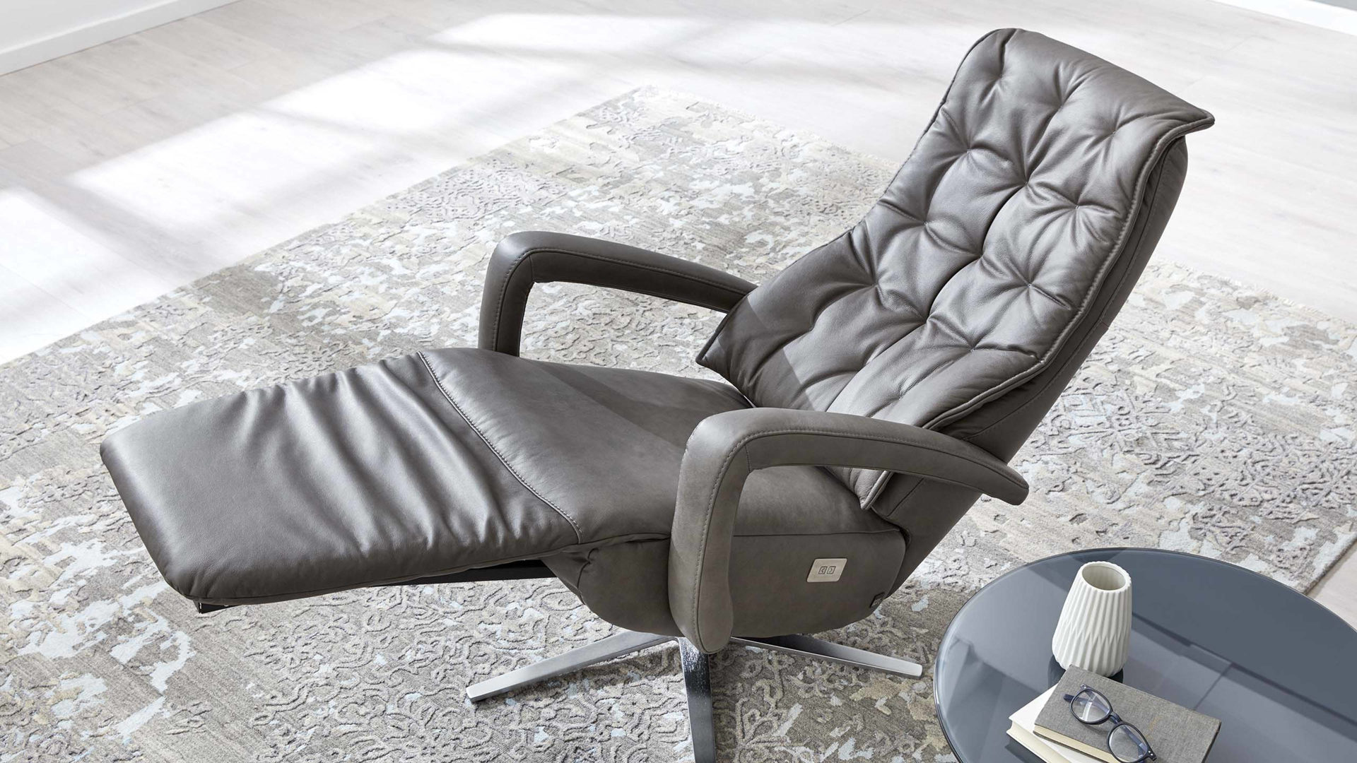 Interliving Sessel Serie 4502 Grauer Relaxsessel Graues Longlife