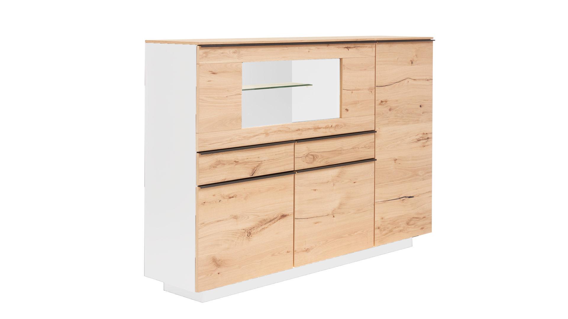 Interliving Wohnzimmer Serie 2103 Highboard Mattweißer Lack
