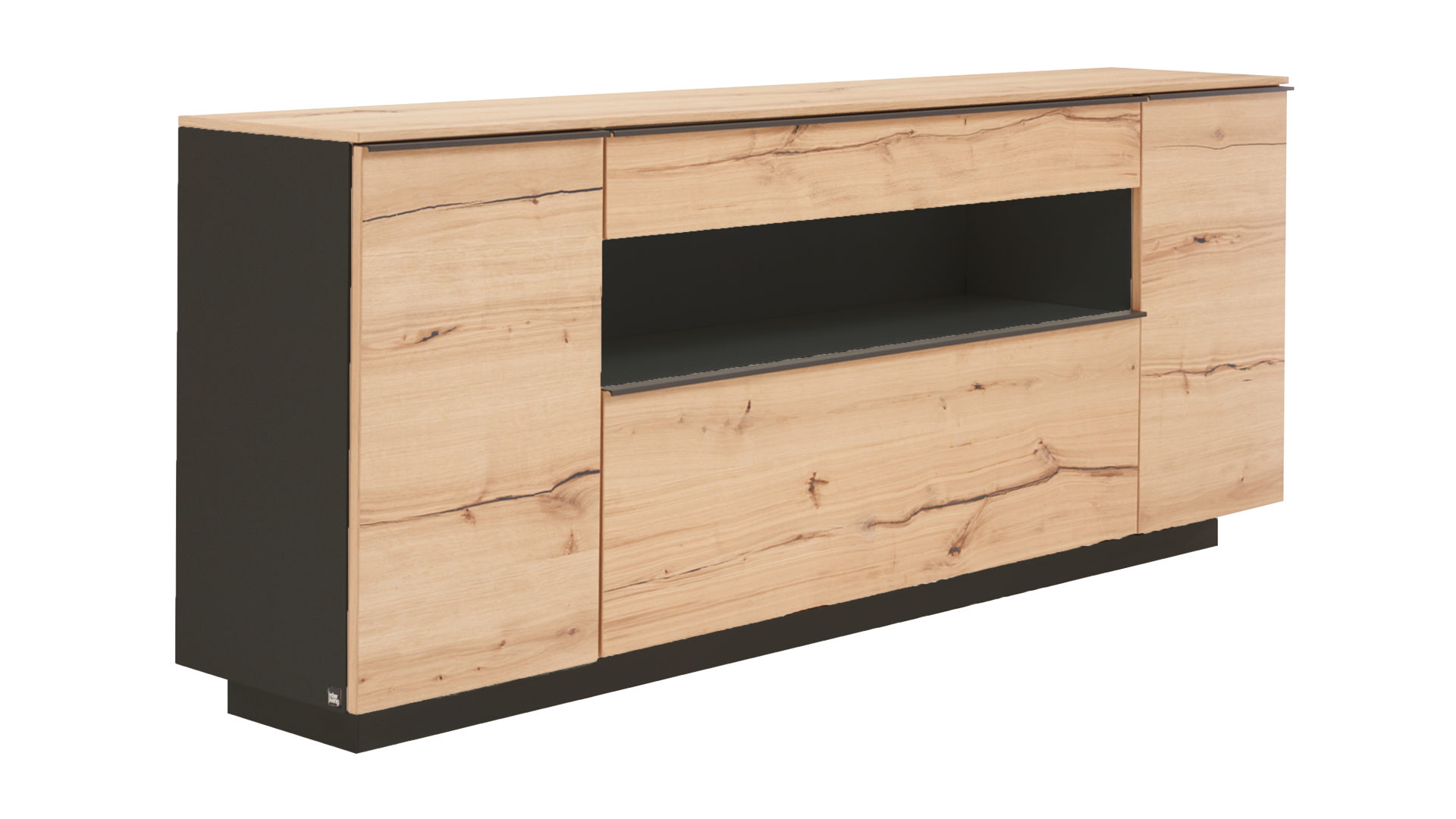 Interliving Wohnzimmer Serie 2103 – Sideboard, schieferschwarzer Lack &,