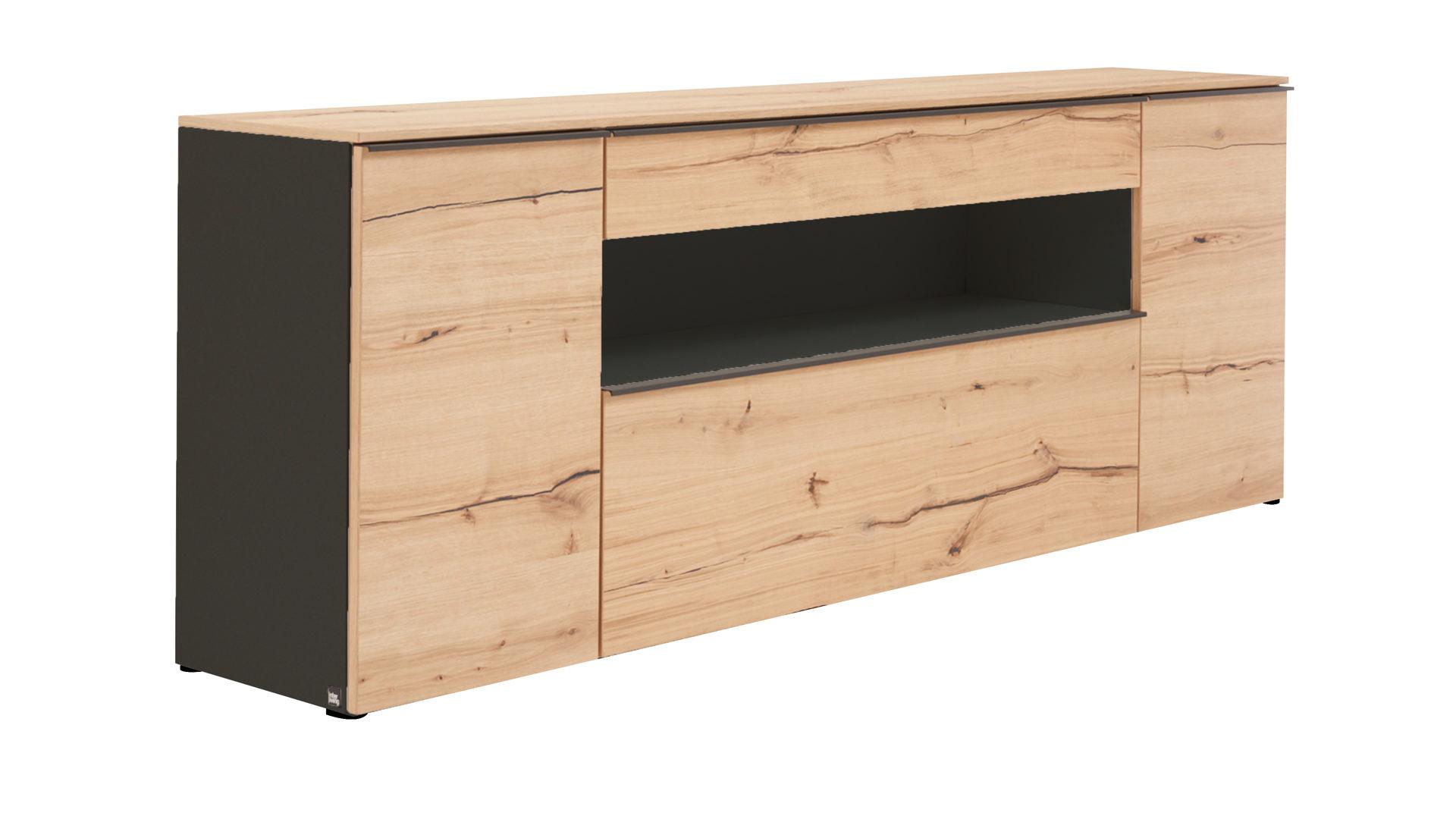 Interliving Wohnzimmer Serie 2103 – Sideboard, schieferschwarzer Lack &  Asteiche - eine Tür, zwei Schubladen