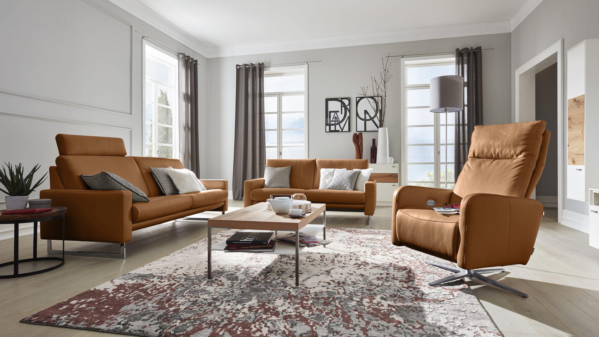 Interliving Sofa Serie 4001 Ledergarnitur Cognacfarbenes Leder