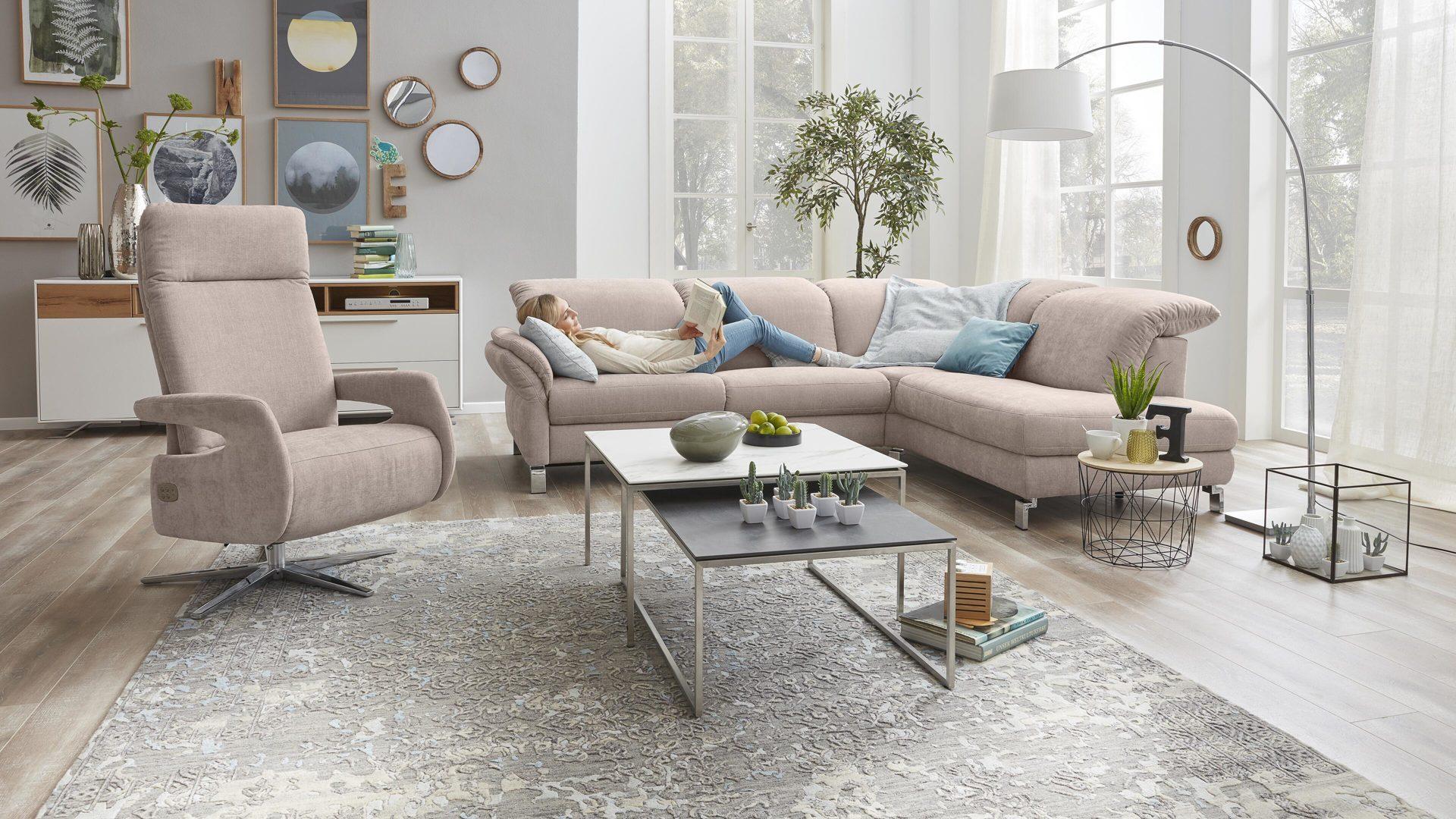 Interliving Sofa Serie 4101 Eckkombination Rosa Bezug Vintage