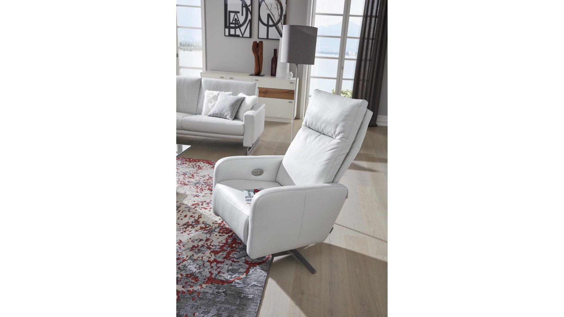 Interliving Sessel Serie 4501 Polstermöbel Weißes Leder Z59 42