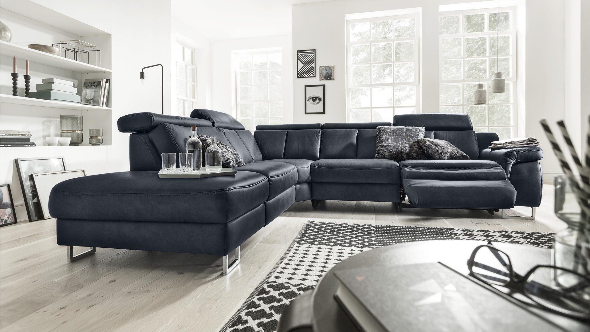 Interliving Sofa Serie 4050 Wohnlandschaft Nachtblaues Longlife