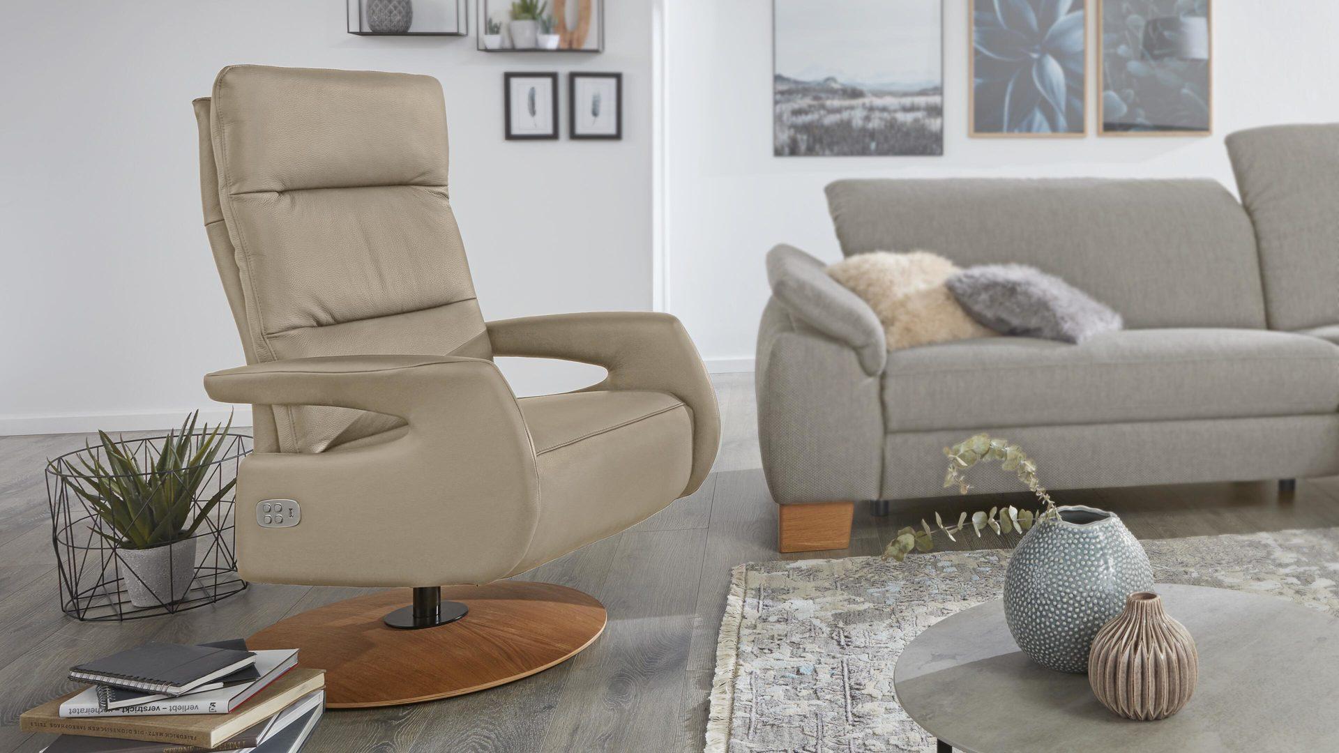 Interliving Sessel Serie 4510 Relaxsessel Perlfarbenes Leder