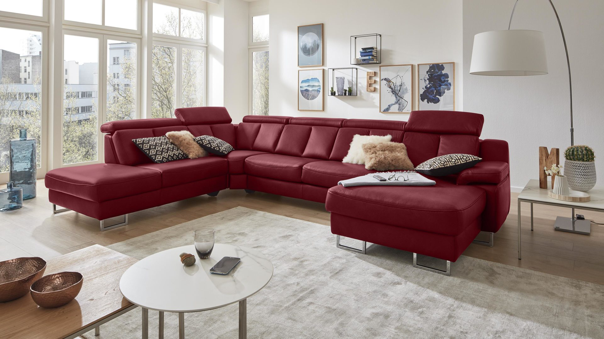 Interliving Sofa Serie 4050 Wohnlandschaft Rotes Longlife Leder