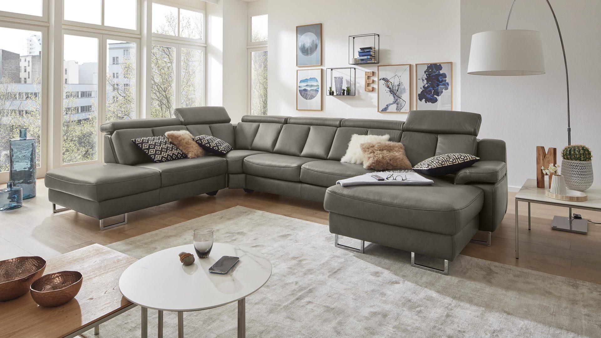 Interliving Sofa Serie 4050 Wohnlandschaft Rauchgraues Longlife
