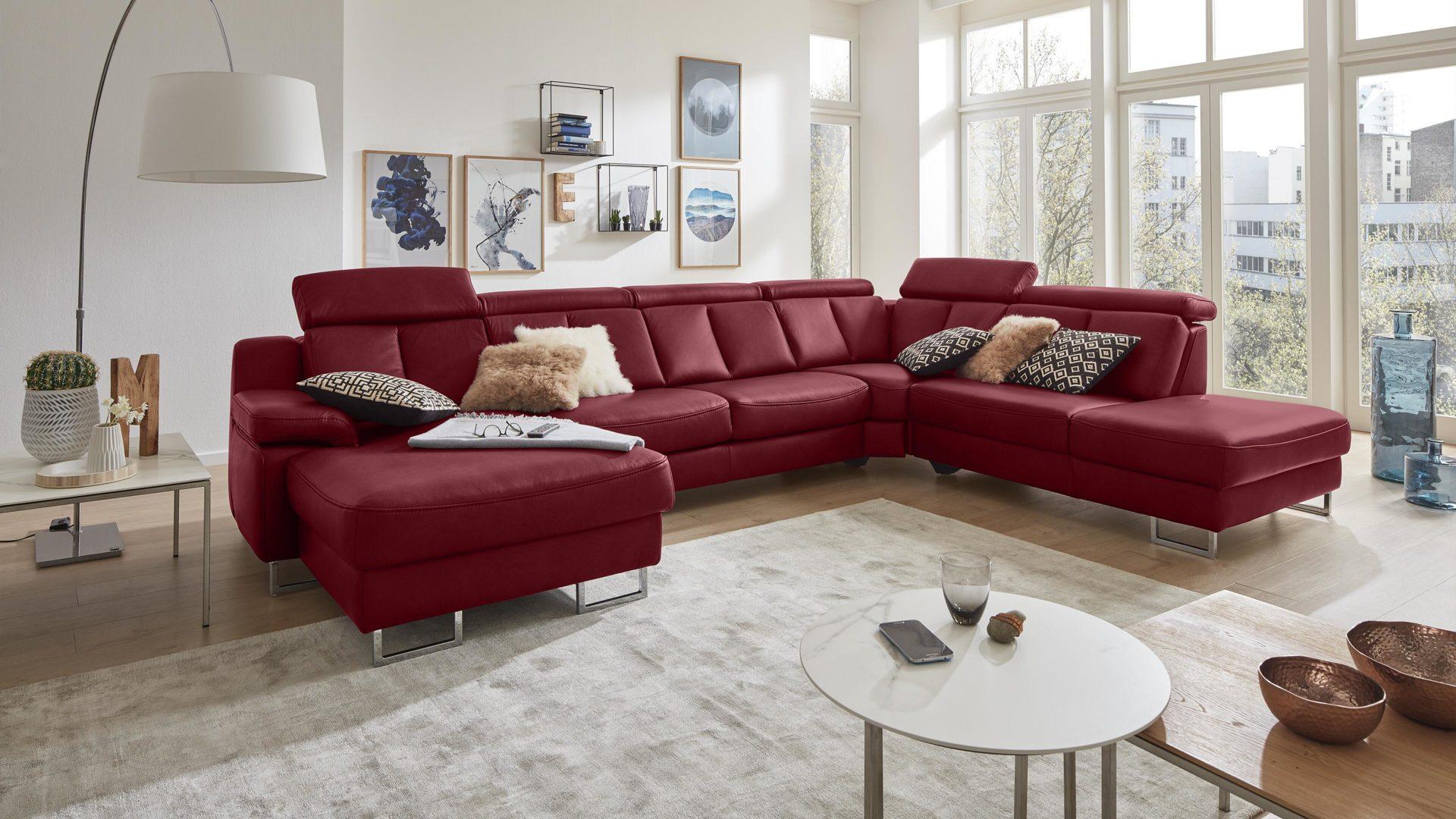 Interliving Sofa Serie 4050 Wohnlandschaft Rotes Longlife Leder