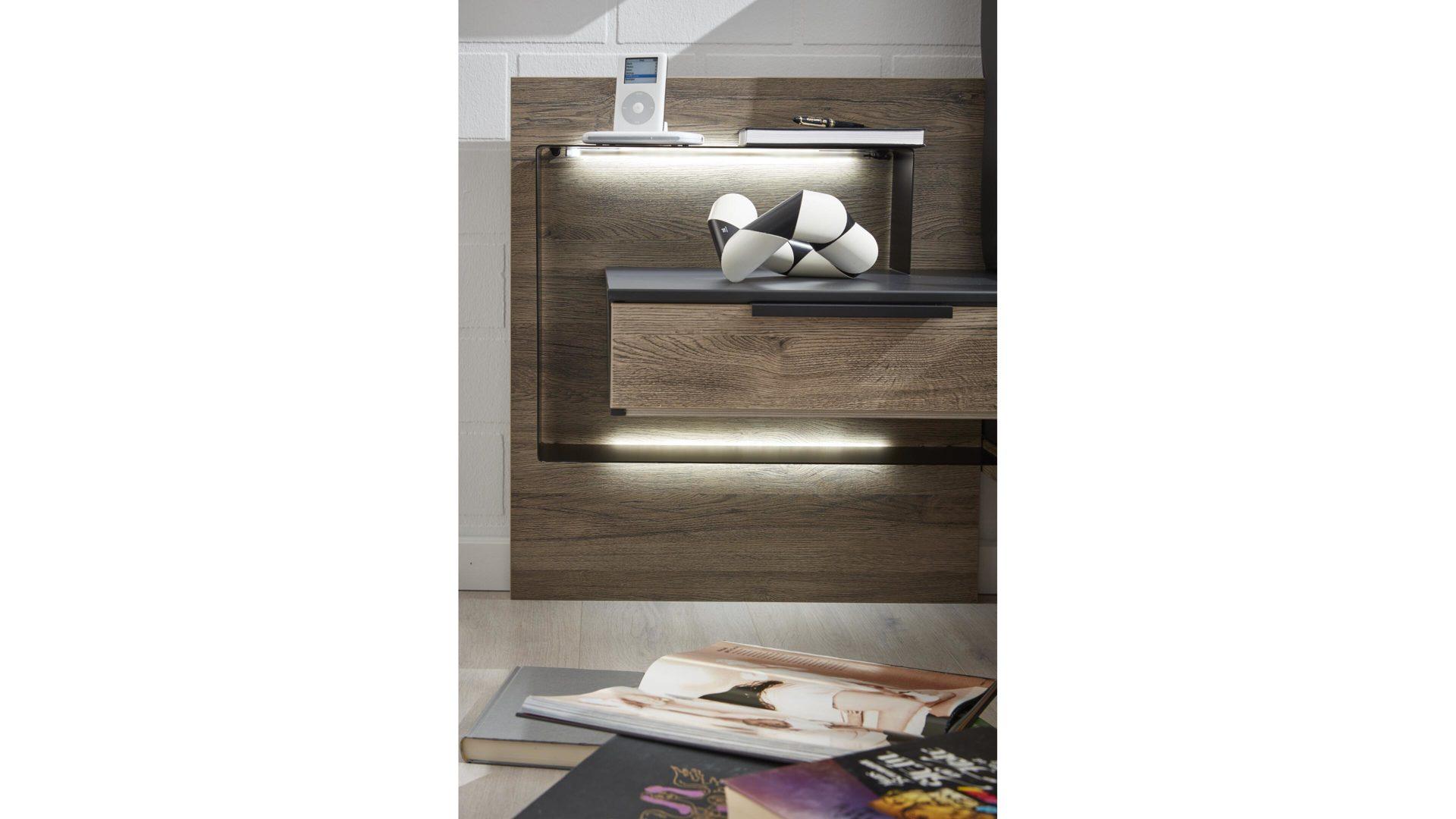 Interliving Schlafzimmer Serie 12 – Nachtkonsolen-Set, dunkle Sanremo  eichefarbene & mattschwarze Kunststoffoberflächen –