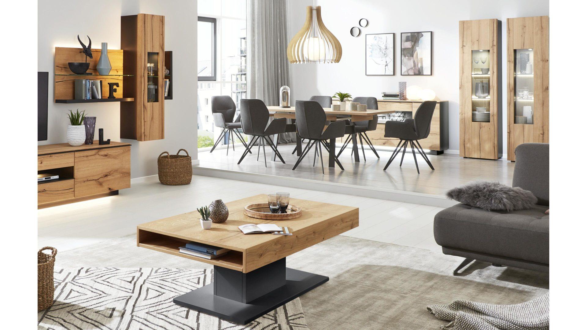 Interliving Wohnzimmer Serie 2103 Couchtisch Schieferschwarzer
