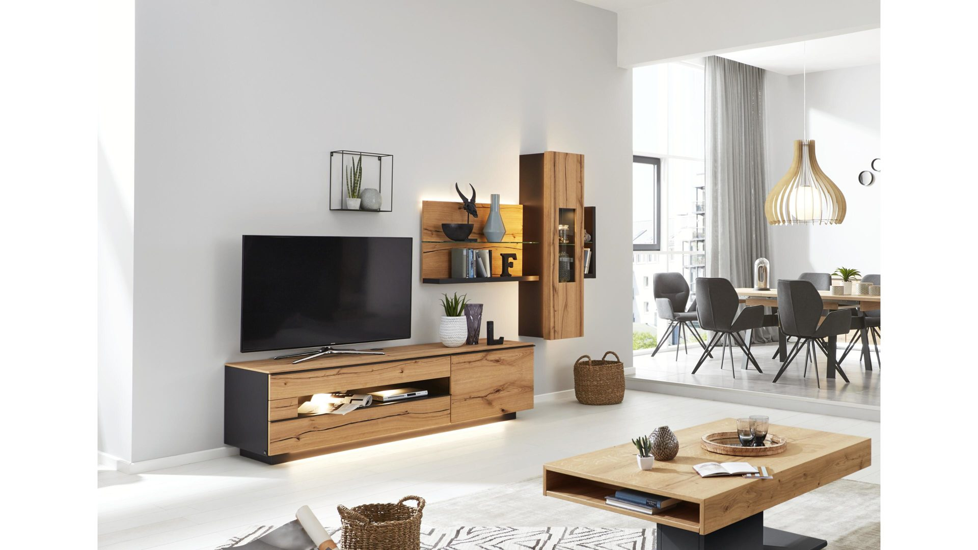 Interliving Wohnzimmer Serie 2103 Wohnwand Schieferschwarzer Lack