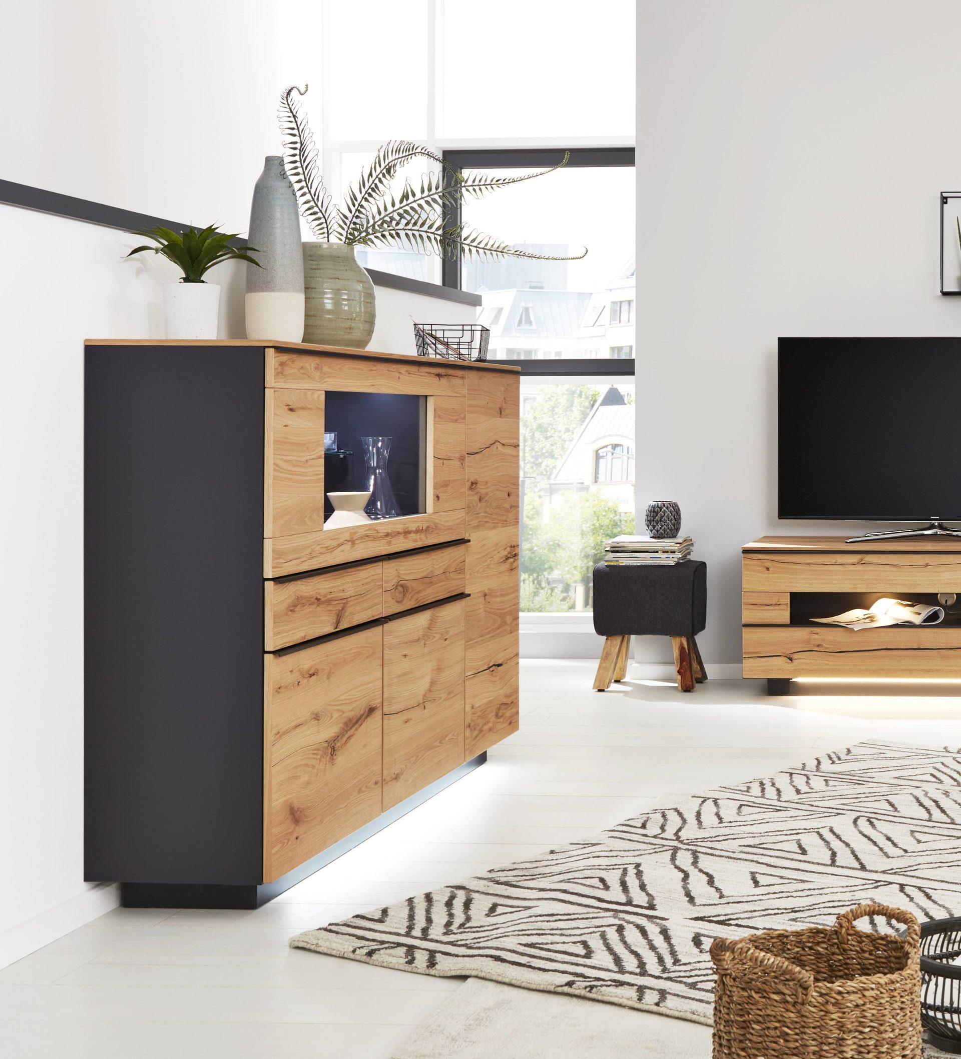 Interliving Wohnzimmer Serie 2103 Highboard 560713 Mit Beleuchtung