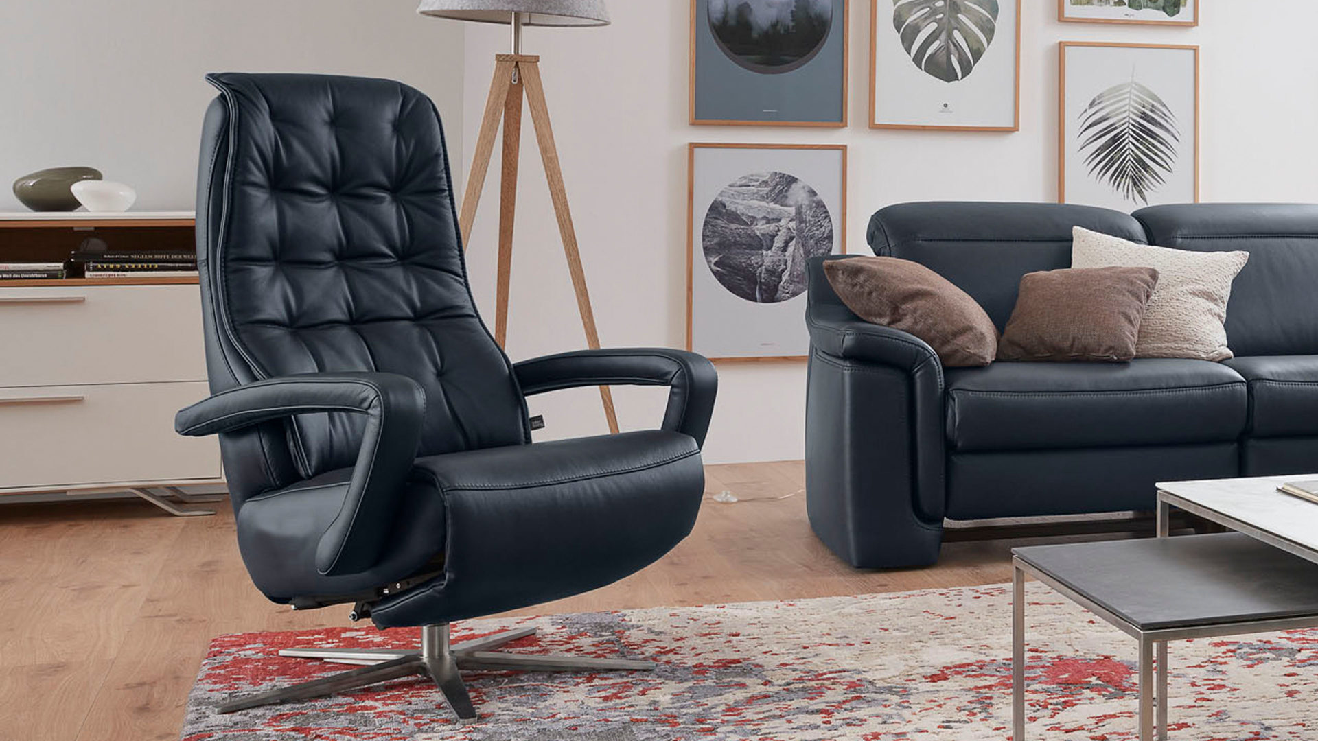 Interliving Sessel Serie 4502 Relaxsessel Nachtblaues Longlife Leder