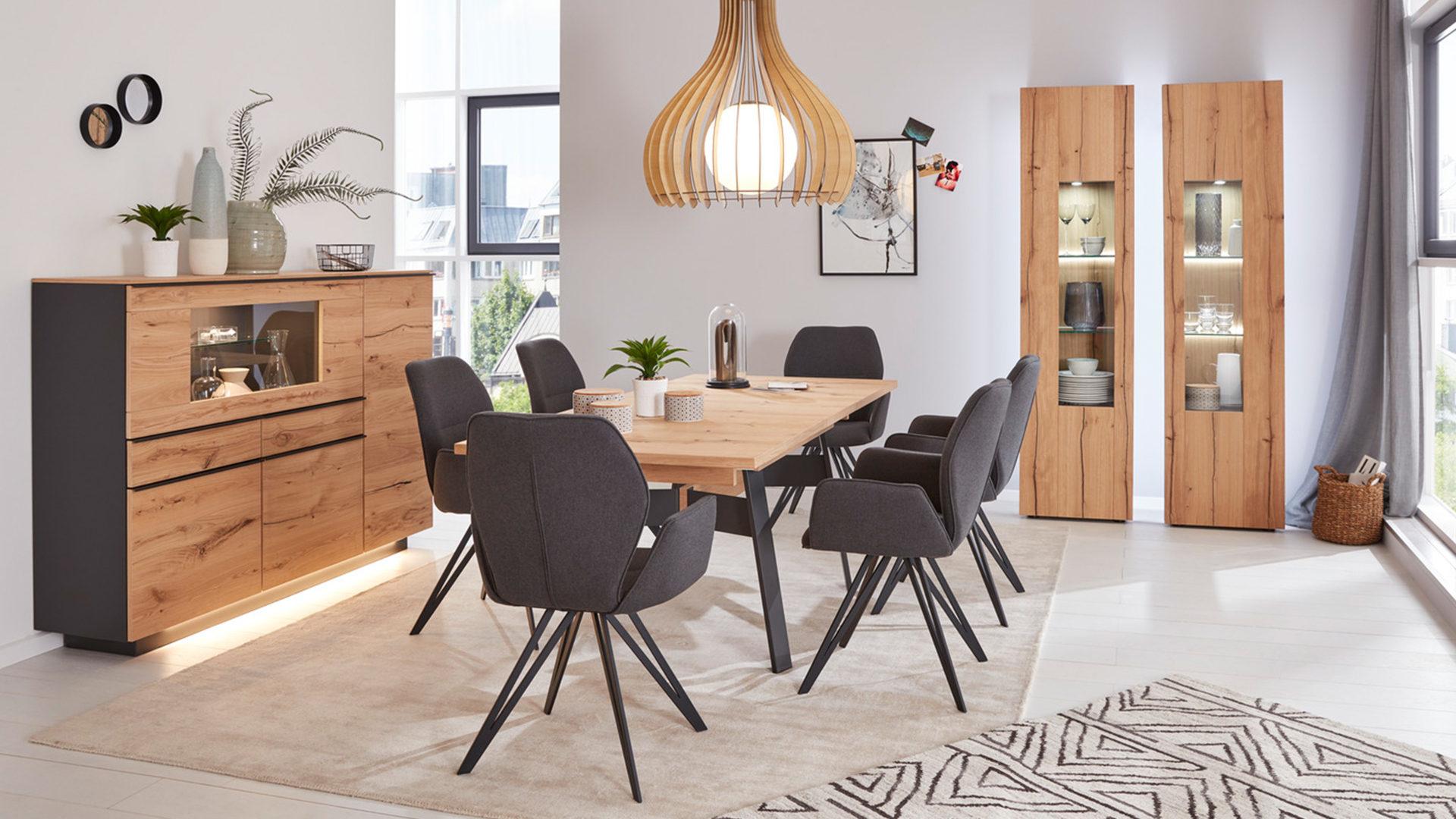 Interliving Wohnzimmer Serie 2103 – Highboard, schieferschwarzer Lack &,