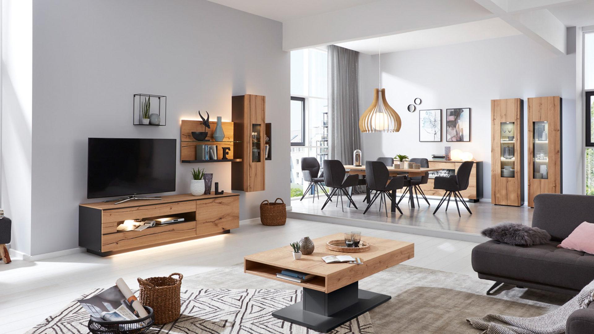 Favorit Interliving Wohnzimmer Serie 2103 – Wohnwand 560001S mit Beleuchtung, SX47