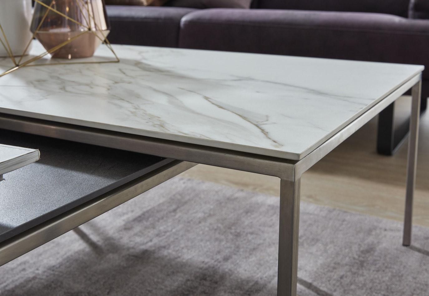 Interliving Couchtisch Serie 6201 Wohnzimmertisch Carrarafarbene