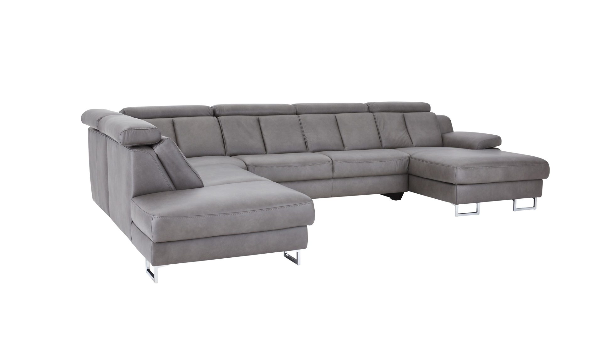 Interliving Sofa Serie 4050 Wohnlandschaft Graues Longlife Leder