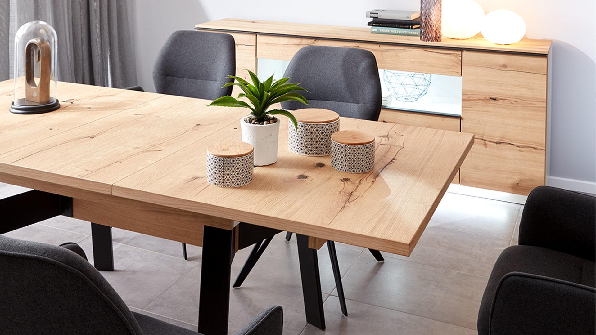 Interliving Wohnzimmer Serie 2103 – Esstisch, schieferschwarzer Lack &  Asteiche – ca. 160 x 90 cm